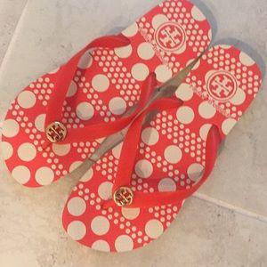 Tory Burch red orange flip flops size 8